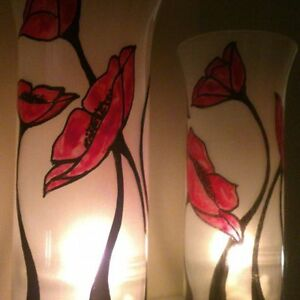 One tall glass Candle Holders Hand Paint Tea Light red flower.