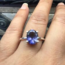 Natural 2ct Iolite Water Sapphire 925 Solid Sterling Silver Solitaire Ring 6.25