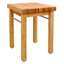 French Country Square Butcher Block Towel Bar Shelves Kitchen Island Work Table