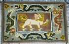 Antique Hand Made Traditional Chinese Dragons Fu Dog Art Deco Wool Rug 63x40cms