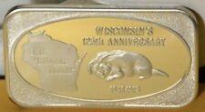 1973 Wisconsin The Badger State 125th Anniversary 1 ozt .999 Silver Art Bar