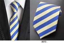 amarillo y Franjas Azules Estampado Hecho a mano 100% Seda Corbata De Boda