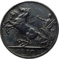 1927 ITALY King Victor Emmanuel III Silver 10 Lire Antique ITALIAN Coin i60811