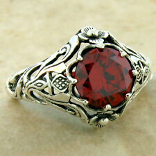 SCOTTISH THISTLE NOUVEAU 925 STERLING SILVER GARNET COLOR CZ RING SIZE 7,  #1008