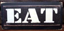 Eat Primitive Farmhouse Kitchen Rustic Wooden Sign Block Shelf Sitter 2.5X5.5