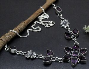 Handmade 925 Sterling Silver Purple Amethyst Gemstone Jewelry Necklace S-17-18''