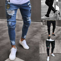 Stylish Men Ripped Jeans Skinny Slim Fit Denim Pants Destroyed Frayed Trousers