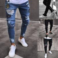 Mens Skinny Jeans Rip Slim fit Stretch Denim Distress Frayed Biker Jeans Boy UK