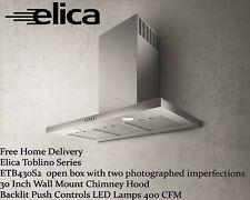 Elica Toblino ETB430S2 30 Inch Wall Mount Chimney Hood Backlit LED open box