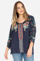 Johnny Was Navy Sheera Blouse Plus Size XXL Floral Embroidery Colorful NWT
