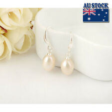18K White Gold Filled Genuine Freshwater Pearl Drop  Earrings Wedding Formal