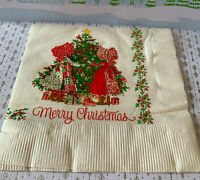 """1 Vintage Merry Christmas Holly Hobby Crepe Paper Napkins 13x13"""" inches New"""