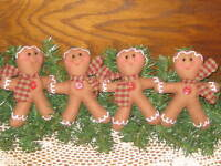 4 Country Christmas Gingerbread tree ornaments Bowl Fillers Wreath Accents
