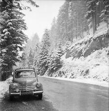 LA SCHLUCHT c. 1950 - Auto Sapins Enneigés  Vosges - Négatif 6 x 6 - N6 GE78