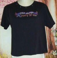 Las Olas Women's Vintage Black Shirt With Beaded (God Bless America). Size: L.
