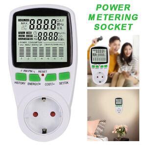 Digital LCD Power Meter Wattmeter Socket Wattage Kwh Energy Measure Analyzer UK*