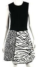 FAUSTO PUGLISI Black & White Animal Intarsia Knit Skirt Skater Dress 44