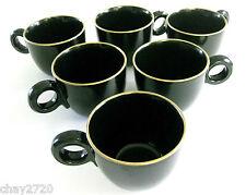 "EEUC SET OF 6 PCS. MIKASA ""BLACK TIE"" PORCELAIN COFFEE CUPS/ MUGS, Made in Japan"