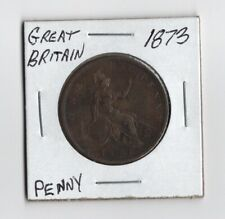 World Coin Queen Victoria 1873 Great Britain One Penny Very Nice Condition!