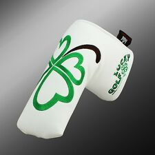 Craftsman Lucky Green Clover White Blade Putter Cover Headcover Magnetic Closure