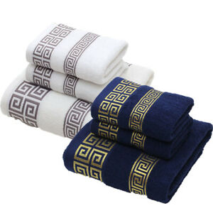 3pcs Soft Cotton Towel Set Luxury Look Face Hand Towel Gym Bath Towels Bathroom