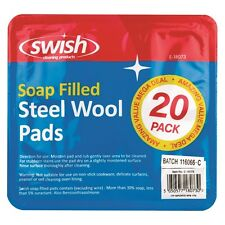 3x 20 Pack STEEL WOOL SOAP PADS FILLED WITH SOAP LIKE BRILLO DURABLE STRONG-UK