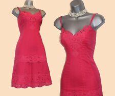 Karen Millen Red Coral Thin Cotton Broderie Anglaise Casual Dress UK12  EU40