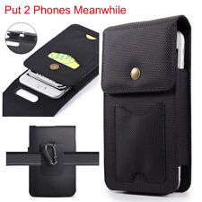 2 in 1 Black Vertical Canvas Belt Clip Case Pouch Holster for Two Cell Phones US