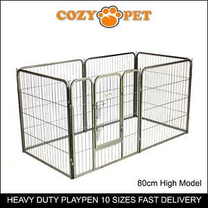 Heavy Duty Cozy Pet Puppy Playpen 80cm High 6 Panel Run Crate Pen Dog Cage