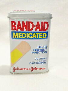 VINTAGE 1984 BAND-AID MEDICATED TIN / BAND-AIDS - NEW OLD STOCK