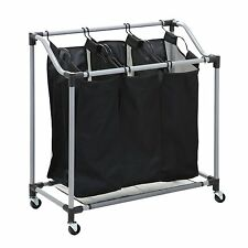 Triple Laundry Sorter Black Bag Clothes Hamper Organizer Basket Bin Rolling Cart