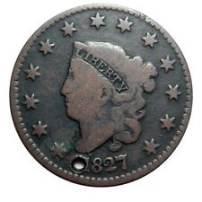 Large cent/penny 1827 Newcomb 6 holed bargain bin