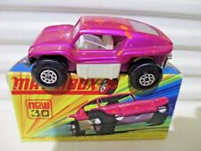 Lesney Matchbox 1970 MB30B Pink + Yew BEACH BUGGY WHITE Interior SMALL Exhausts