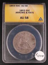 1853 50C Arrows & Rays ANACS-AU58
