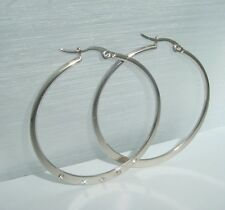 light and shiny stainless steel hoop earrings with cubic zirconia crystals 1795