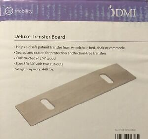 "DMI Wooden Deluxe Transfer Board 440 lb Capacity 8"" x 30"" w 2 Cut-Outs"
