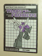 Hasbro Transformers Octane G1 instructions manual booklet Generation JH