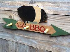 SMOKED BBQ Hat Mug Coat Rack - Pig Hog Bar-B-Que BBQ Sign