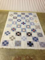 Vintage Hand Made Stiched Multi Color Square's Quilt 80x57 (c43)