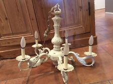 Vintage Chandelier French Country Shabby Chic 5 Arm Hanging Light Whitewashed