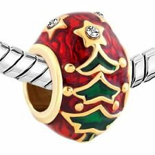 Authentic Christmas Tree Xmas Party Gifts Red Charm Bead Beads Pandora Bracelets