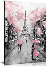 Pink Black & White Paris Painting Canvas Wall Art Picture Print