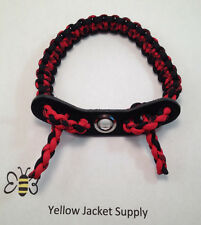Archery Paracord Bow Wrist Sling Black Red and Black Widow  Leather Yoke