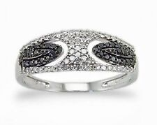 Black & White Diamond Ring 10K White Gold Open Framework Diamond Pave Band .26ct