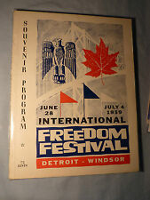 Extremely Rare! Inaugural 1959 Detroit Windsor Freedom Festival Souvenir Program