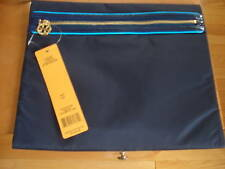 Tory Burch Kaitlyn Women'S Large Cosmetic Make Up Case Clutch Navy Logo Nwt