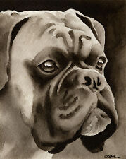 New ListingBoxer Art Print Sepia Watercolor Painting by Artist Djr