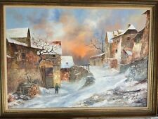 German Town in Winter SCHOISSENGEIER, H. (German, Early 20th Cent) Oil On Canvas