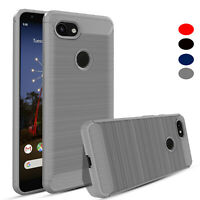For Google Pixel 3A/3A XL Ultra Slim Fiber Carbon Silicone Hybrid TPU Cover Case