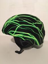 Ski & Sport Helmet cover by Shellskin. Green/Blk Lightning print Spandex 1 Size